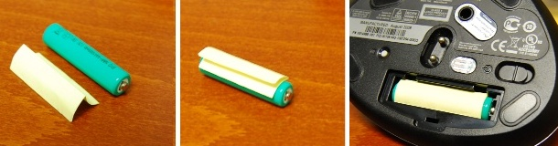 Fold the paper (left); place on top of battery (center); insert into mouse (right)